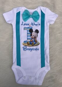 753610a7a Image is loading handmade-boys-first-birthday-Mickey-Mouse-blue-shirt-