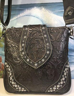 tassels Tote Handbag silver studs Montana West floral tooled embossed