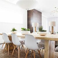 Set Of 6 Charles Ray Eames Eiffel Inspired Dsw Dining Chair Retro In White