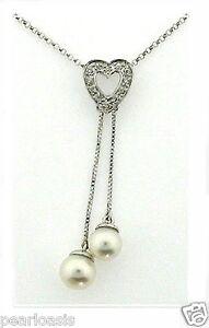 6-5-7MM-White-Freshwater-Pearl-Diamond-Heart-Pendant-14K-White-Gold-NEW