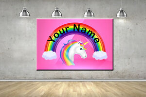Rainbow Unicorn Named Nursery Personalised Canvas Picture Baby Girls Wall Art