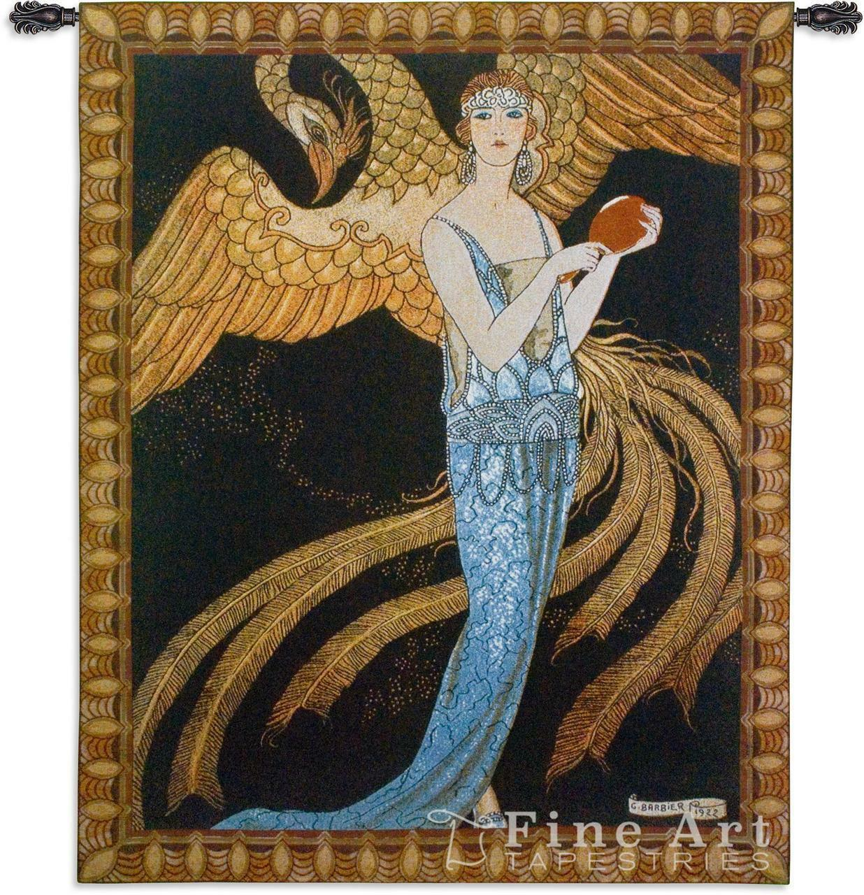 53x53 SORTILEGES Woman Phoenix Bird Tapestry Wall Hanging