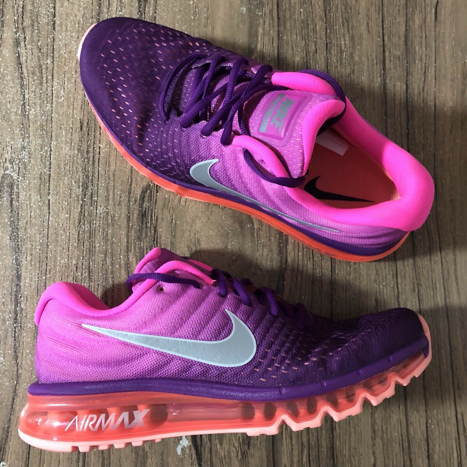 A789G Nike Women's Air Max 2017 Bright Grape Fire Pink 849560-502 Size 5 NEW