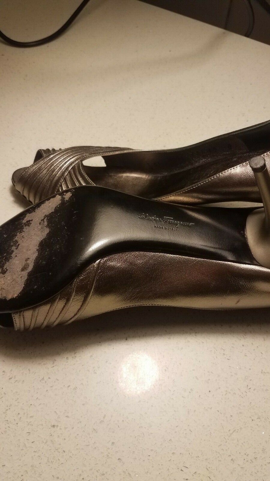 GORGEOUS Gold LEATHER LEATHER LEATHER SALVATORE FERRAGAMO schuhe Größe 10 646104