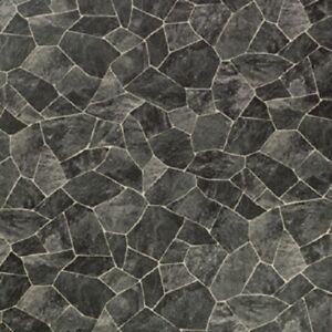 CV-Boden wird in ben/ötigter Gr/ö/ße als Meterware geliefert /& pflegeleicht CV PVC-Belag verf/ügbar in der Breite 200 cm /& L/änge 350 cm PVC Vinyl-Bodenbelag in Bruchstein dunkel Optik
