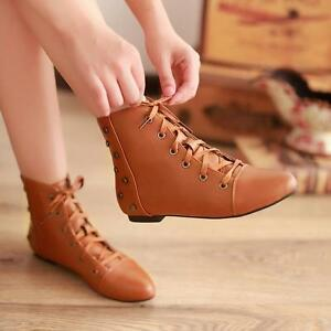 Womens-Rivet-Pointed-Toe-Lace-up-Flat-Heel-Lace-Up-Winter-Warm-Ankle-Boots-Shoes