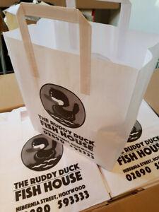 20 Small White Kraft SOS Paper Bags Lunch Food Carrier Takeaway Handles Ba50