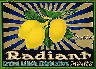 RADIANT LEMON CRATE LABEL ORANGE COUNTY VILLA PARK ART DECO GENUINE 1930S