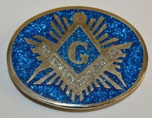 NICE-Vintage-Beautiful-Inlaid-Freemasons-Compass-Blue-Solid-Belt-Buckle-Rare