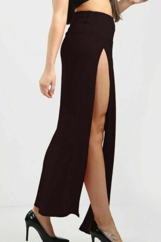 Femme Taille Haute Double fente Jupe longue Long côté fente Bas De Bikini Cover Up