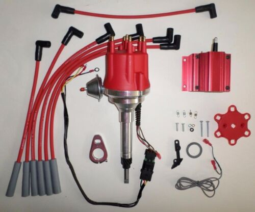 Coil /& Wires small cap CHEVY INLINE 6 Cylinder 194-216-235 Red HEI Distributor