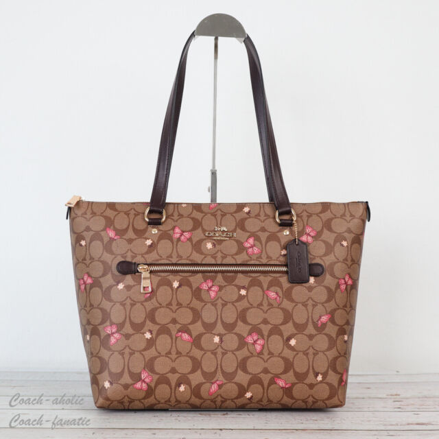 NWT Coach 2712 Gallery Tote in Signature Canvas with Butterfly Print Khaki Pink