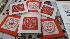 scandinavian heart style christmas card designs cross stitch charts (10/234)