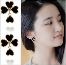 GP Stainless Steel Four leaf Clover Rose Gold Black Stud Earrings Gift Box P29
