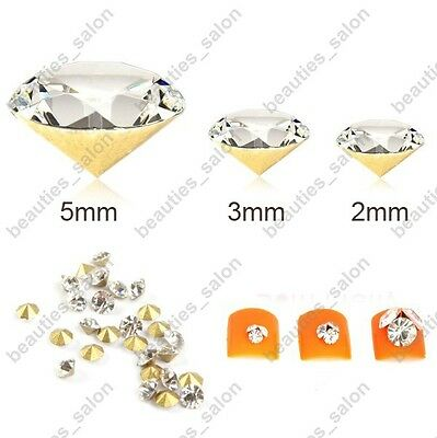 50pcs 2mm / 3mm / 5mm Glitter Diamante Cone Rhinestones 3D Nail Art Stickers