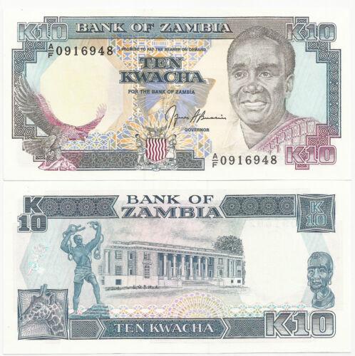 UNC SIG 9 CAT PR $ 3 ZAMBIA 10 KWACHA P-31b ND 1989-91