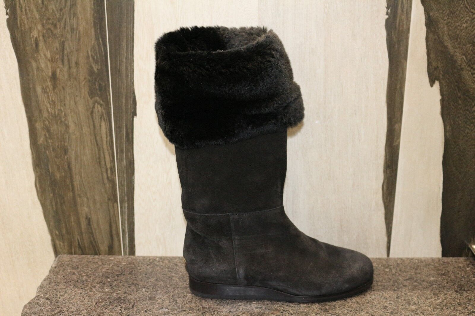 NIB Jimmy Choo DARA SUE RABBIT LINED BLACK SUEDE FOLD FLAT WEDGE BOOTS Shoes 37
