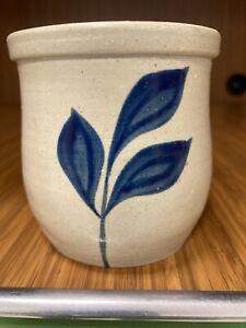 Williamsburg Pottery Factory Salt Glazed Stoneware Vase Or Cup Cobalt Blue