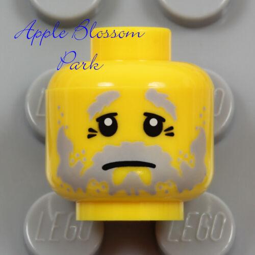Pirate//Castle NEW Lego GrandPa MINIFIG HEAD Gray Moustache Beard Hair Sad Eyes