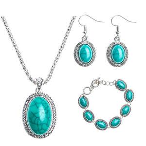 Fashion-Elegant-Turquoise-Jewelry-Set-Women-039-s-Fine-Necklace-Bracelet-Earrings