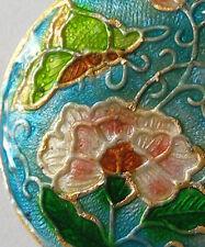 Grano focal cloisonné Redondo, Peonía/Mariposa, Azul/Rosa, 32mm, la fabricación de joyas