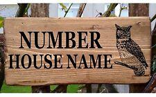 GUFO in legno personalizzato Porta Segno Placca Targa Bungalow Cottage Veranda Casa Nome