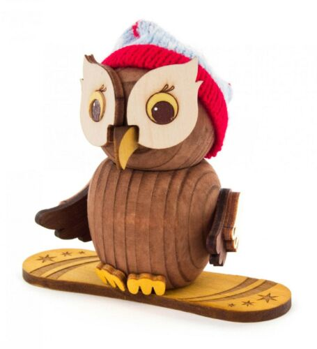 FIGUR Mini-Eule mit Snowboard NEU Erzgebirge Sammelfigur Holzfigur Holz Miniatur