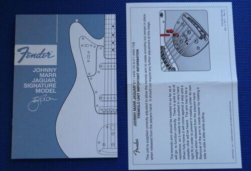 Fender Johnny Marr Owner`s Manual for Jaguar Signture Model Guitars
