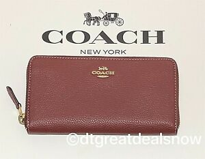 Coach Midnight Blue Pebbled Leather Accordion Zip Around Wallet F16612 NWT $250