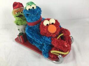 Gemmy-Sesame-Street-Sleigh-Ride-Elmo-Cookie-Monster-Oscar-NOT-WORKING-FOR-PARTS