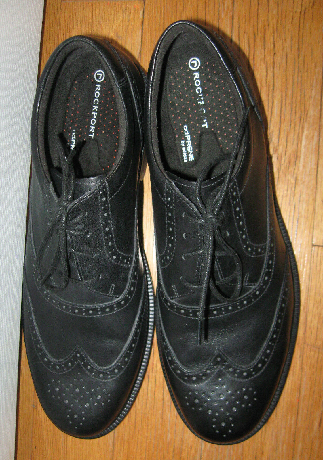 ROCKPORT ALMARTIN OXFORDS adiPRENE MEN'S BLACK LEATHER WINGTIP OXFORDS ALMARTIN SIZE 11 M 2810eb