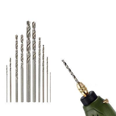 Hot 10Pcs HSS High Speed White Steel Twist Drill Bit Set For Rotary Tool