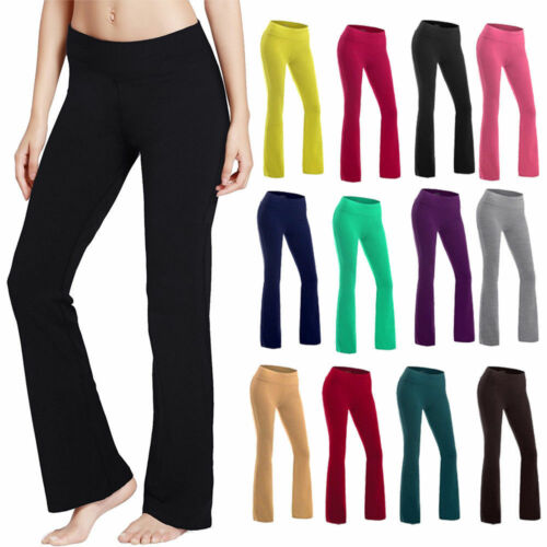 Women Foldover Trousers Flare Wide Leg Heather Long Loose Gym Comfy Yoga Pants