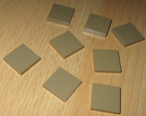 Lego Basic 8x Fliesen Platten 2x2 dunkel Tan-Beige