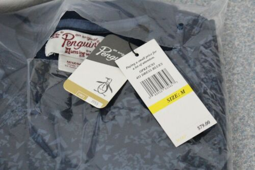 Original Penguin Men/'s Printed Fleece Crew Dress Blues Long Sleeve $79