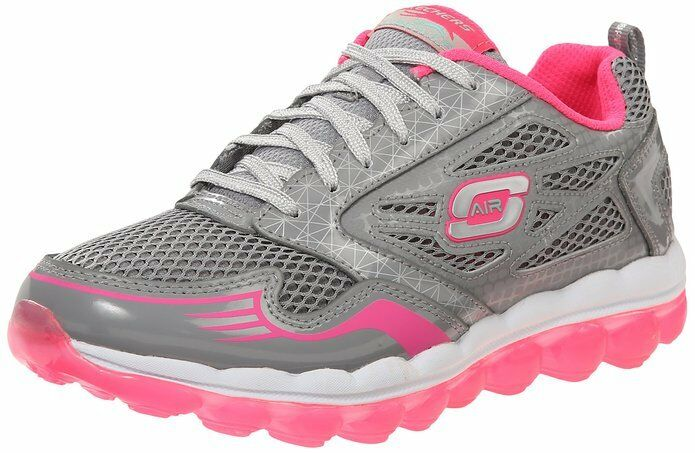 Skechers Air Clear Day Girls Gray/Hot Pink 11 M Leather Athletic Sneakers New