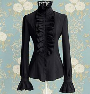 Women-Gothic-Shirt-Blouse-Tops-Lace-Ruffle-Steampunk-Victorian-Puff-Sleeves-A1