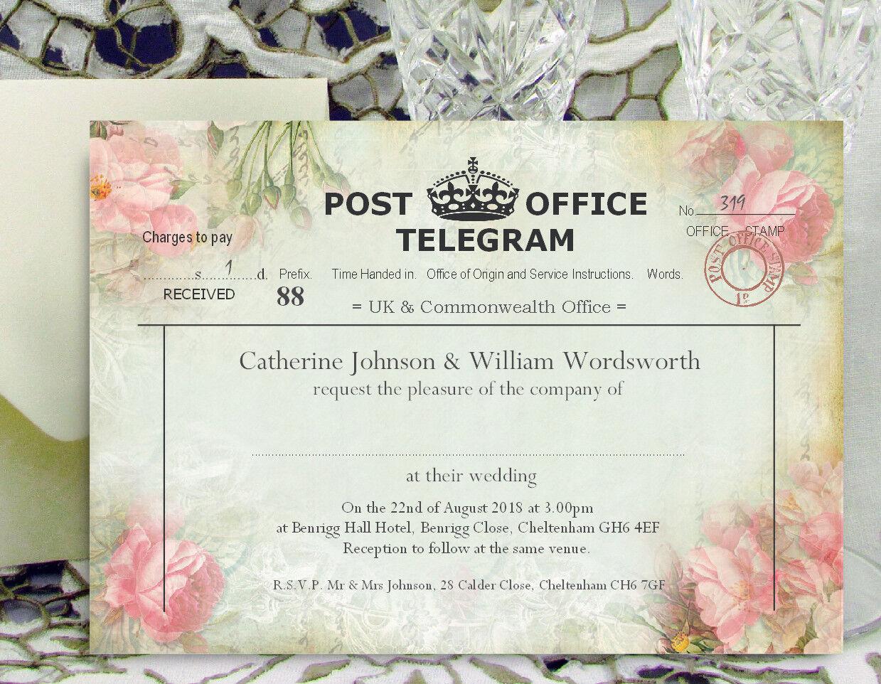 PERSONALISED WEDDING INVITATIONS Rustic Flower Telegram Invites and Envelopes