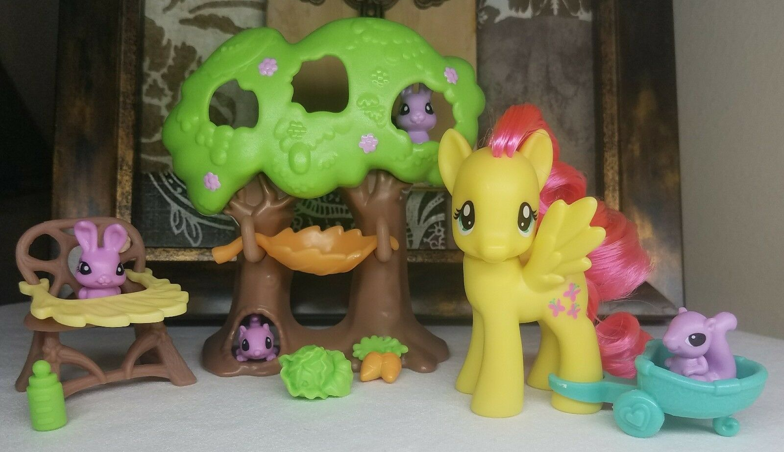 My Little Pony FiM G4 Fluttershy's Fluttershy's Fluttershy's Nursery Tree Accessories Playset Lot Pets ae2708