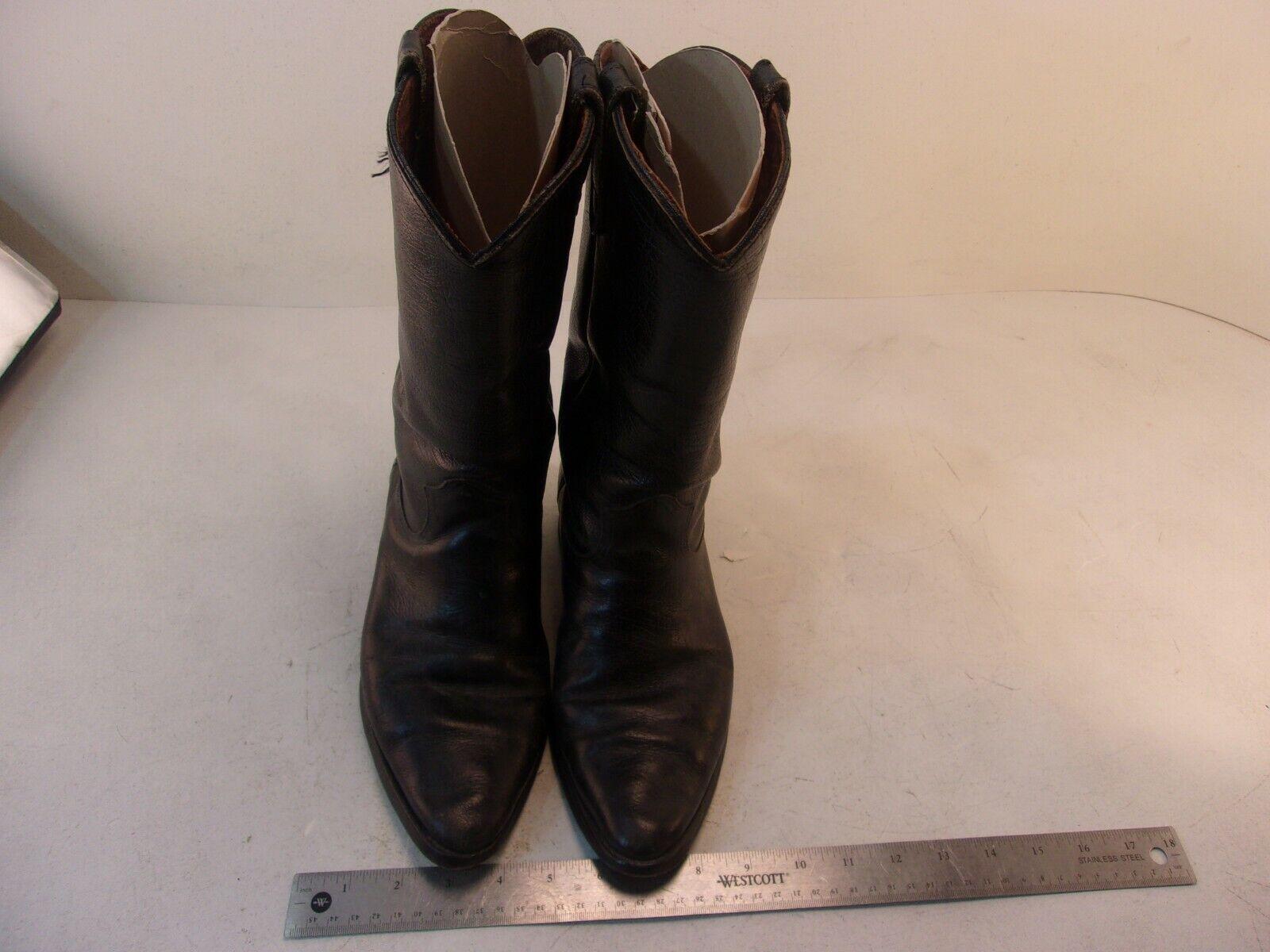 Hombre Vintage Sears Cuero Negro botas De Vaquero DESGASTADO único tamaño 9 9D 86392