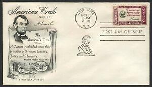 #1143 4c Americano Credo : Lincoln, Fleetwood-Add. FDC Cualquier 5=