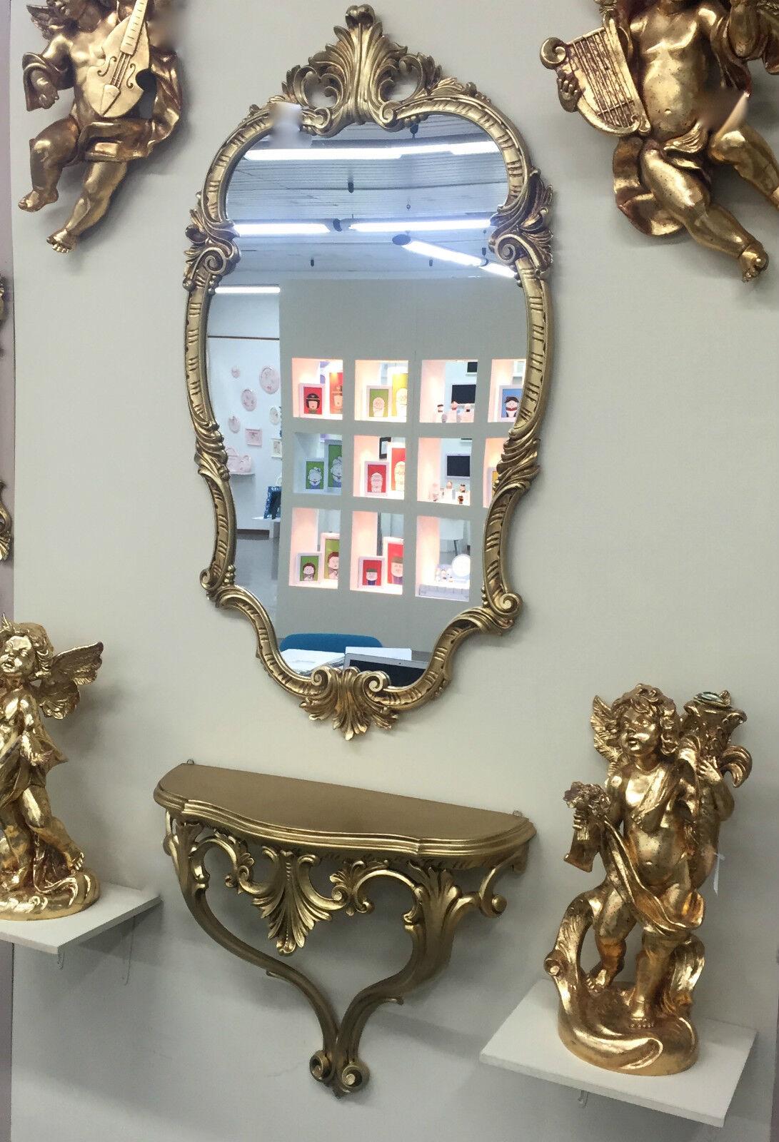 Miroir Mural avec Console Baroque or 98x55 Ancien C410 Miroir de Couloir