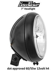 Custom Finned Tear Drop Headlight Black 12V H4 Harley Honda Kawasaki Suzuzki