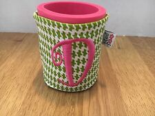 """Green Houndstooth Embroidered Koozie  By Mee Too """"D"""""""