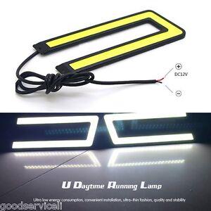 Daytime-Running-Driving-Light-DRL-Headlight-Fog-Lamp-2-Pcs-U-Shape-White-12V-OEM