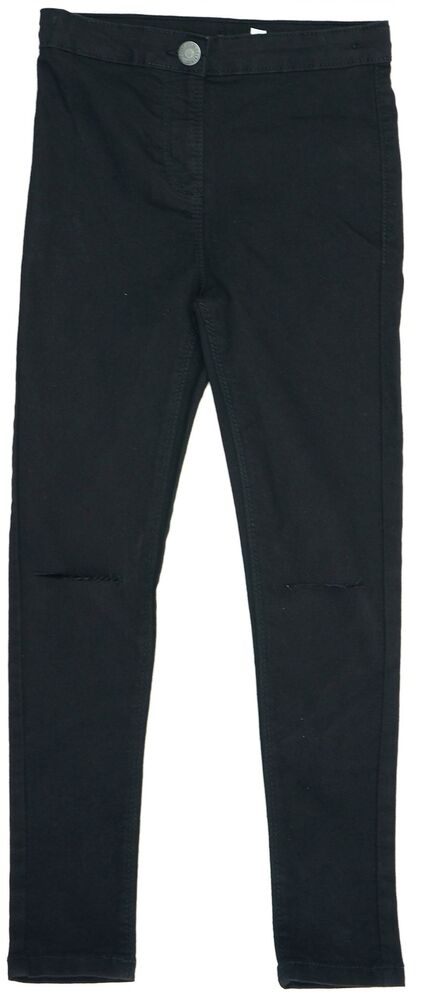 13-14 ans New Rip Genou Noir Jegging Jean Denim Stretch pantalon Skinny Slim