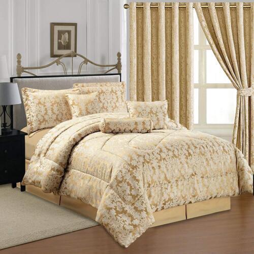 Luxurious Jacquard 7 Piece Comforter Set Bedspread /& Matching Cushion Cover