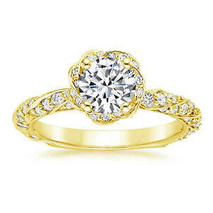 1.10 Ct Round Moissanite Engagement Brilliant Ring 18K Real Yellow Gold Size 6 7
