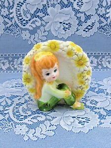 Relpo 3-D Flower Power Girl Planter Vase 1960s #6094 Japan - Mint !