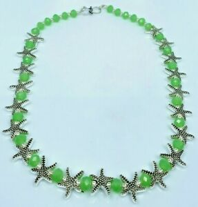 Beautiful 925 Sterling Silver Antique Emerald Faceted Stone Star Necklace Set